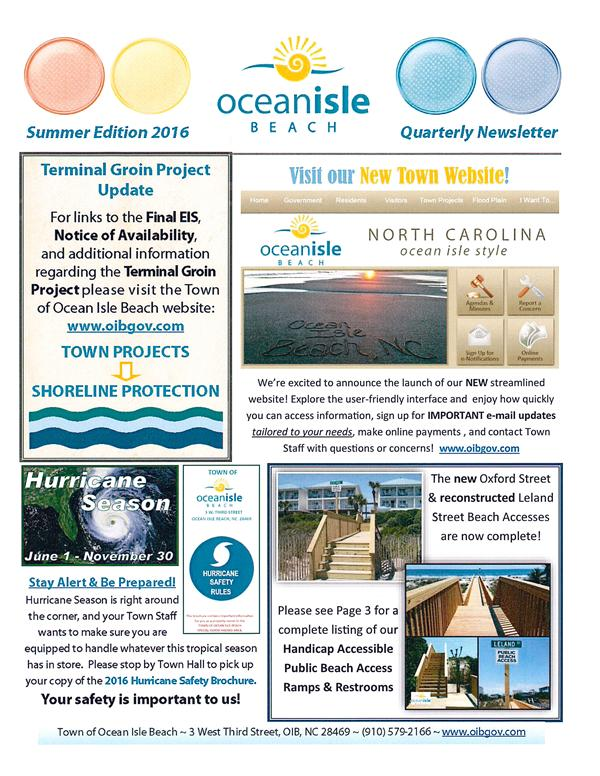 Quarterly Newsletter Cover Page Summer 2016 -